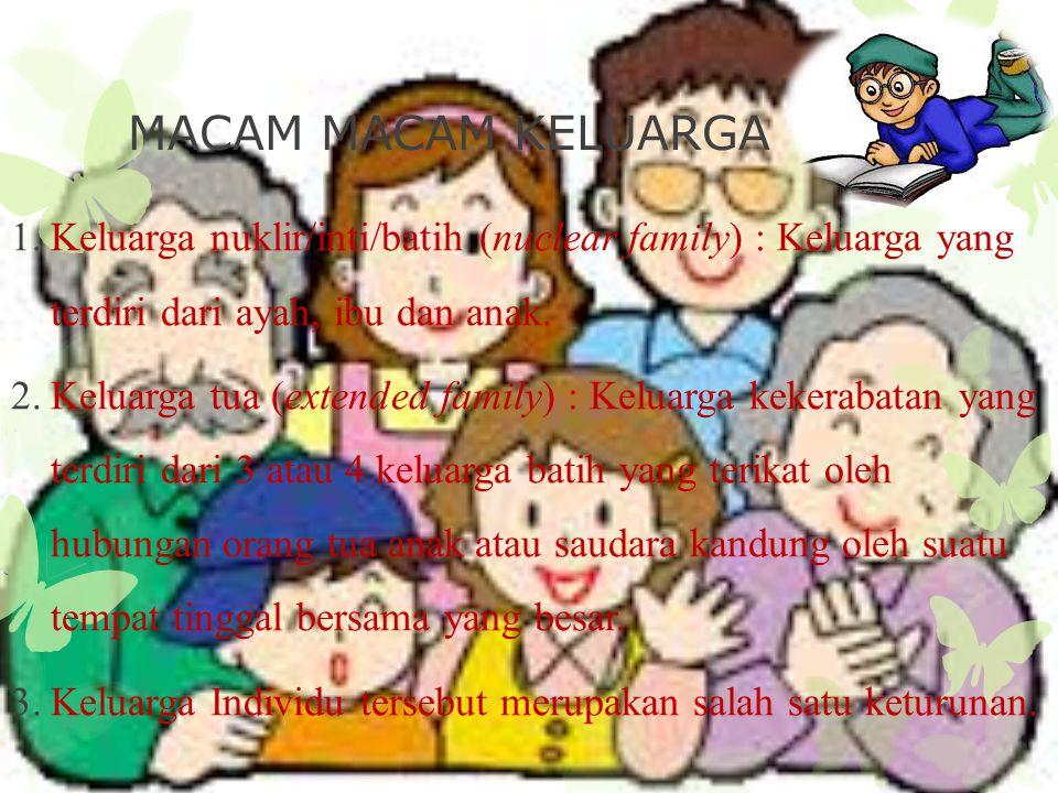 MACAM MACAM KELUARGA 1.Keluarga nuklir/inti/batih (nuclear family) : Keluarga yang terdiri dari ayah, ibu dan anak. 2.Keluarga tua (extended family) :