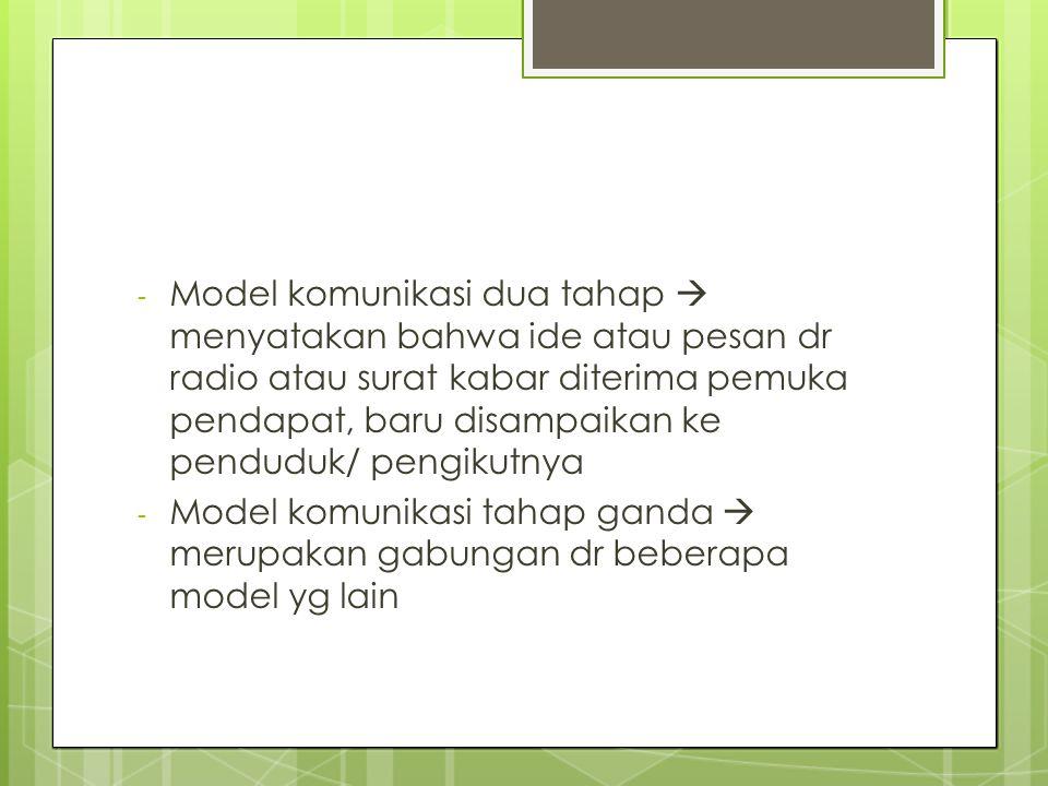- Model komunikasi dua tahap  menyatakan bahwa ide atau pesan dr radio atau surat kabar diterima pemuka pendapat, baru disampaikan ke penduduk/ pengi