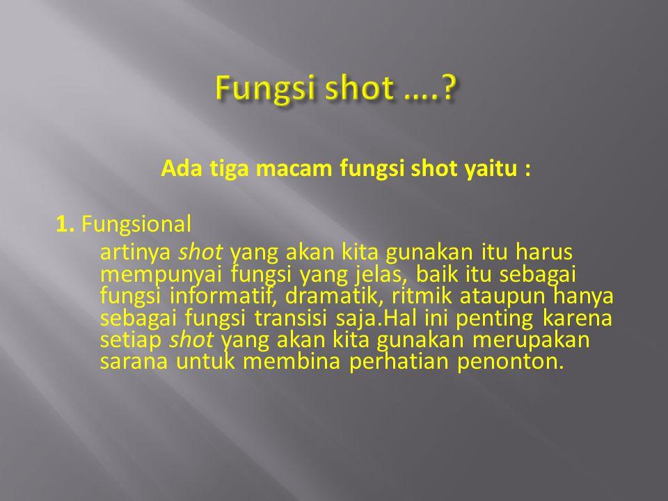 Ada tiga macam fungsi shot yaitu : 1. Fungsional artinya shot yang akan kita gunakan itu harus mempunyai fungsi yang jelas, baik itu sebagai fungsi in