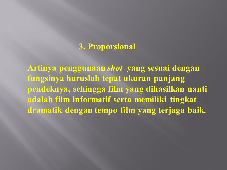 3. Proporsional Artinya penggunaan shot yang sesuai dengan fungsinya haruslah tepat ukuran panjang pendeknya, sehingga film yang dihasilkan nanti adal