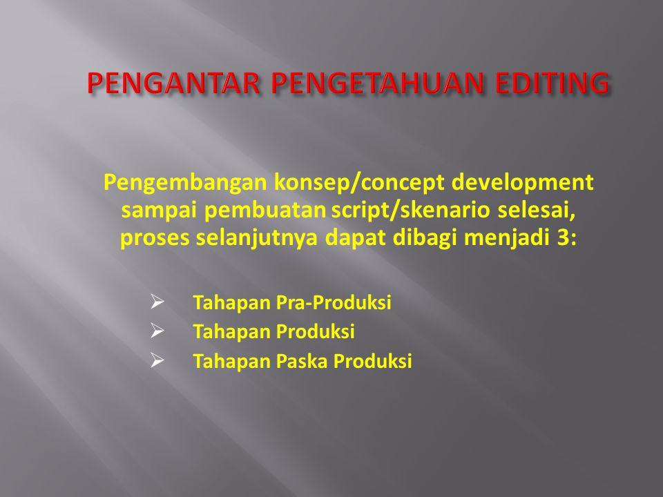 Pengembangan konsep/concept development sampai pembuatan script/skenario selesai, proses selanjutnya dapat dibagi menjadi 3:  Tahapan Pra-Produksi 