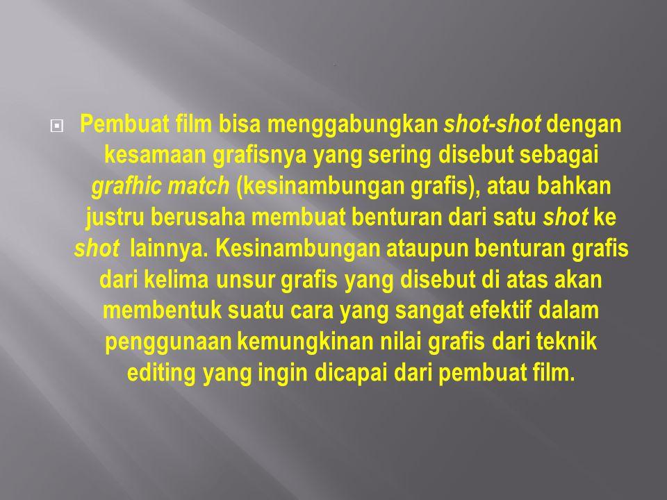  Pembuat film bisa menggabungkan shot-shot dengan kesamaan grafisnya yang sering disebut sebagai grafhic match (kesinambungan grafis), atau bahkan ju