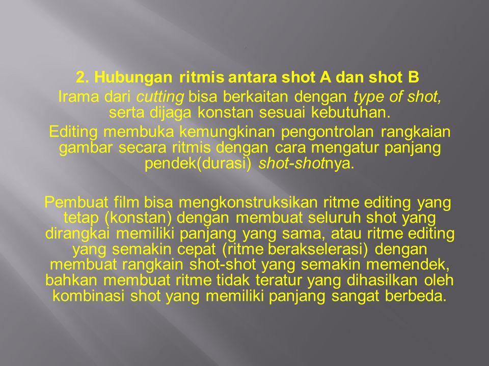 2. Hubungan ritmis antara shot A dan shot B Irama dari cutting bisa berkaitan dengan type of shot, serta dijaga konstan sesuai kebutuhan. Editing memb