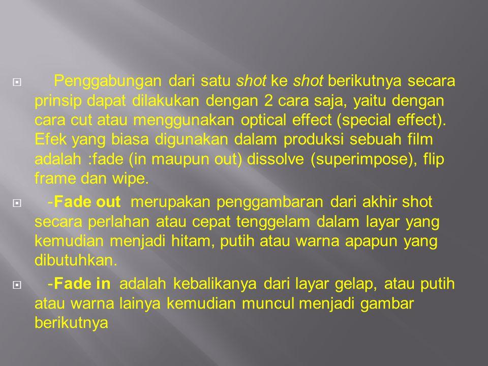 PPenggabungan dari satu shot ke shot berikutnya secara prinsip dapat dilakukan dengan 2 cara saja, yaitu dengan cara cut atau menggunakan optical ef