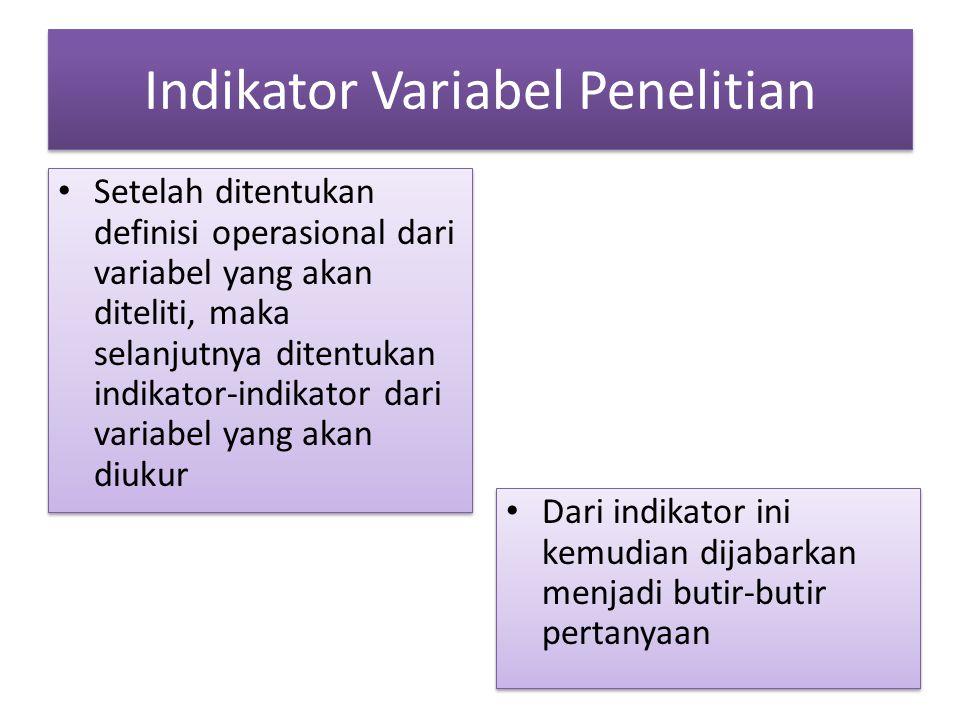 Indikator Variabel Penelitian Setelah ditentukan definisi operasional dari variabel yang akan diteliti, maka selanjutnya ditentukan indikator-indikato