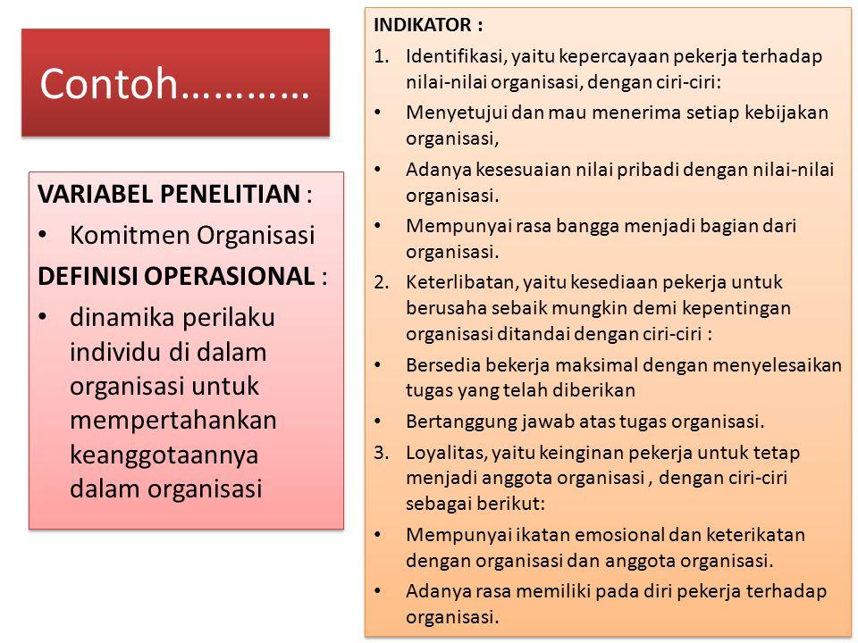 Contoh………… VARIABEL PENELITIAN : Komitmen Organisasi DEFINISI OPERASIONAL : dinamika perilaku individu di dalam organisasi untuk mempertahankan keangg