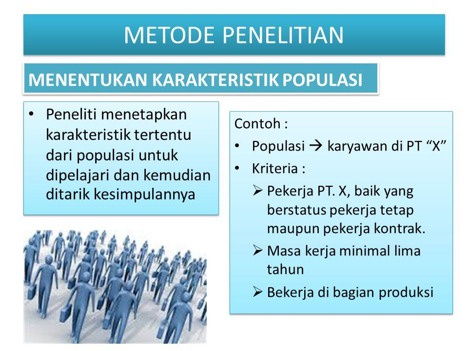 """Peneliti menetapkan karakteristik tertentu dari populasi untuk dipelajari dan kemudian ditarik kesimpulannya Contoh : Populasi  karyawan di PT """"X"""" Kr"""