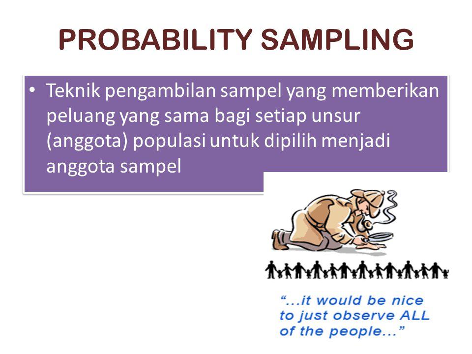 PROBABILITY SAMPLING Teknik pengambilan sampel yang memberikan peluang yang sama bagi setiap unsur (anggota) populasi untuk dipilih menjadi anggota sa