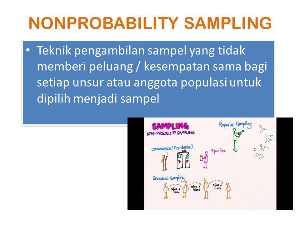 NONPROBABILITY SAMPLING Teknik pengambilan sampel yang tidak memberi peluang / kesempatan sama bagi setiap unsur atau anggota populasi untuk dipilih m