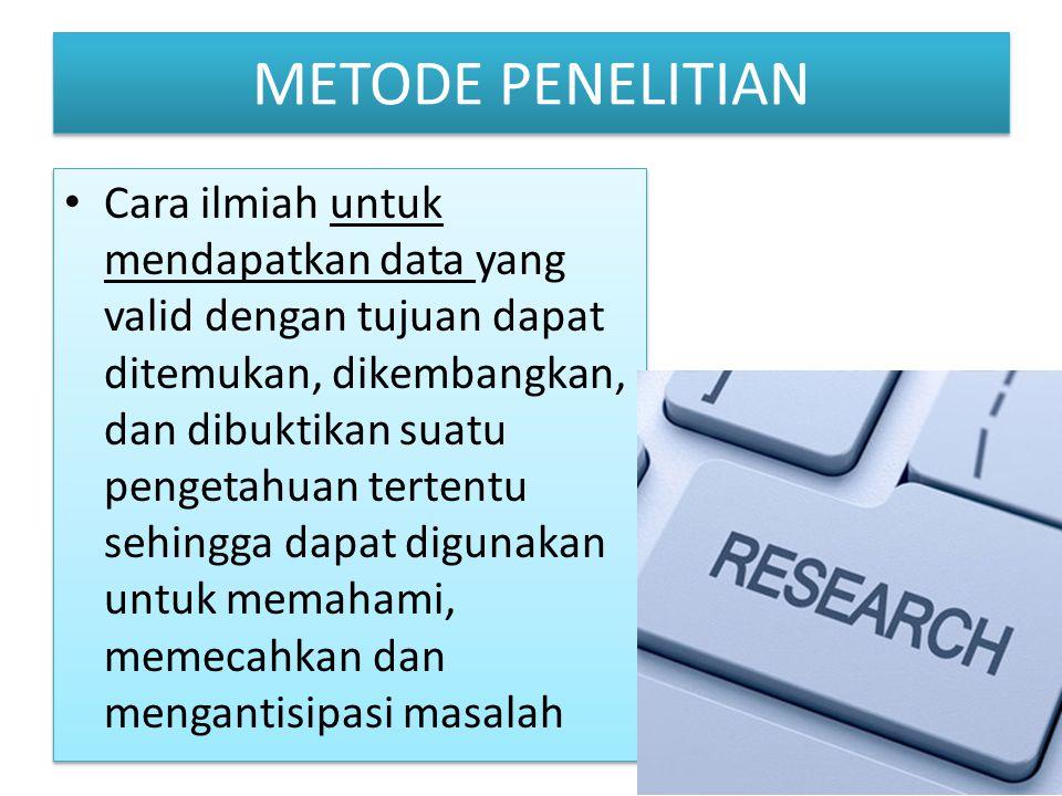 Cara ilmiah untuk mendapatkan data yang valid dengan tujuan dapat ditemukan, dikembangkan, dan dibuktikan suatu pengetahuan tertentu sehingga dapat di