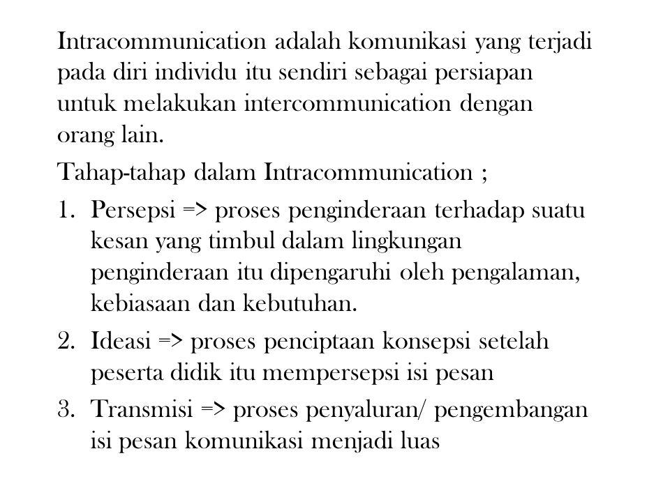 B. BENTUK KOMUNIKASI DALAM PROSES BELAJAR MENGAJAR Ditinjau dari prosesnya pendidikan adalah komunikasi sebab dalam proses tersebut terlibat dua kompo