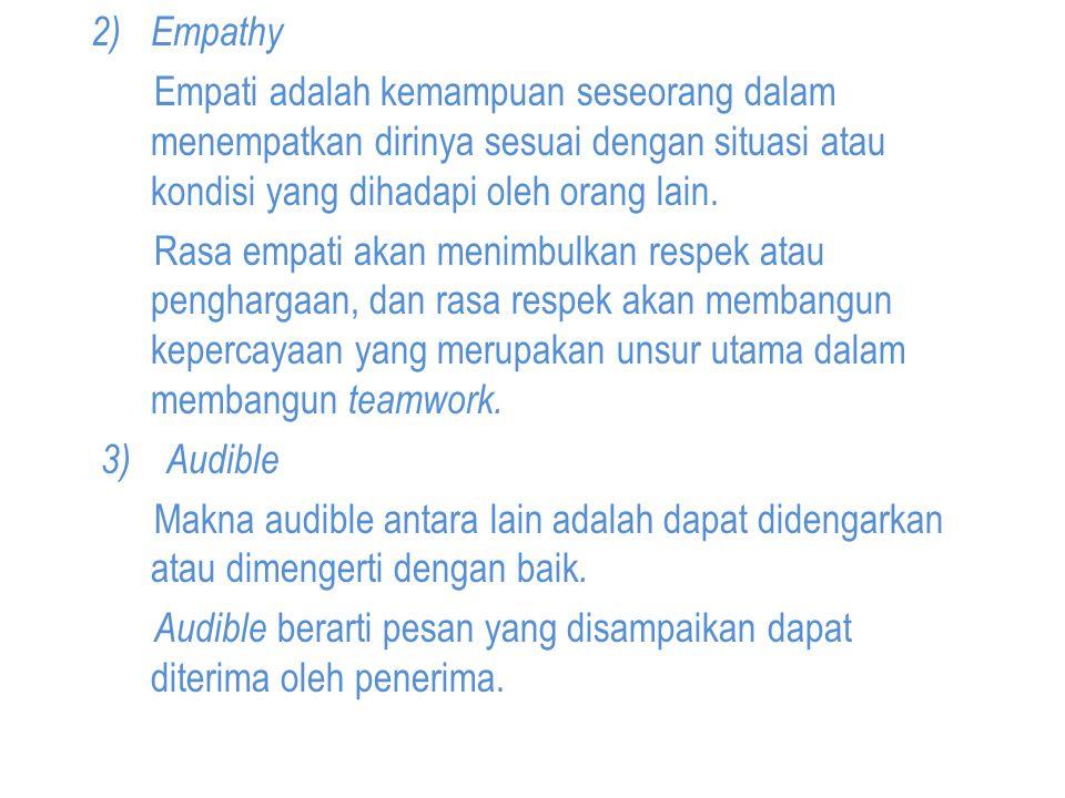 2) Empathy Empati adalah kemampuan seseorang dalam menempatkan dirinya sesuai dengan situasi atau kondisi yang dihadapi oleh orang lain.