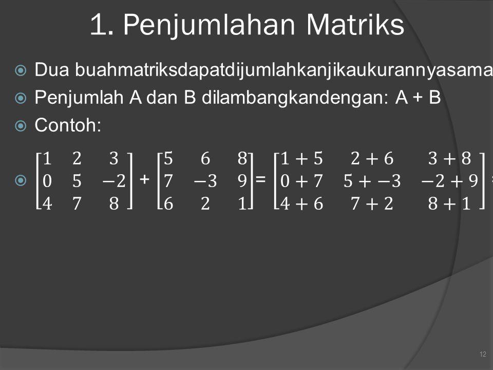 1. Penjumlahan Matriks 12