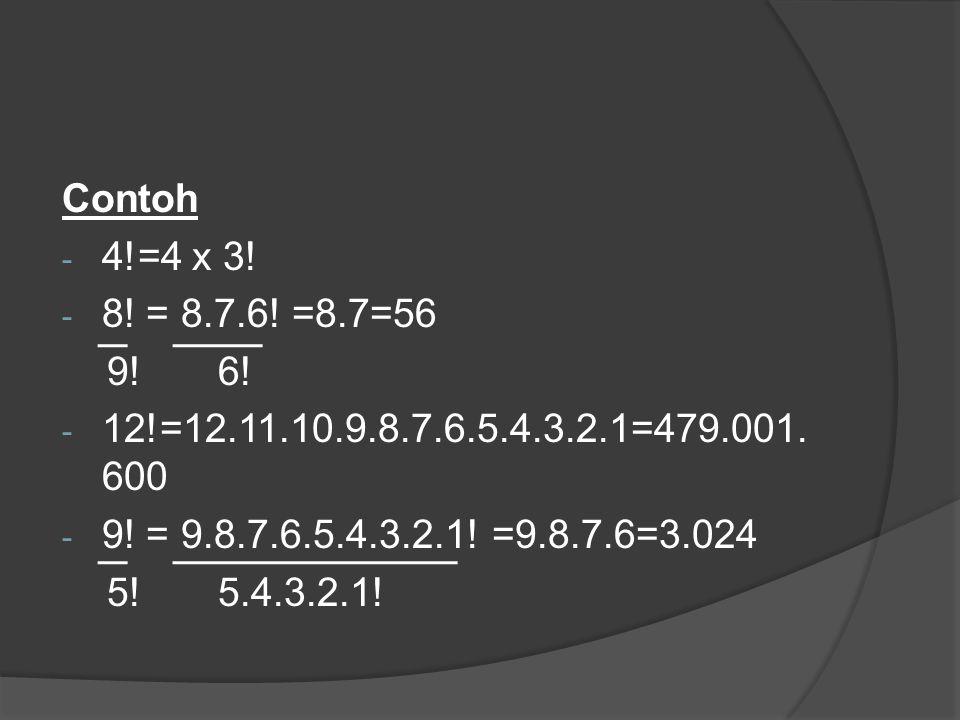 Contoh - 4!=4 x 3! - 8! = 8.7.6! =8.7=56 9! 6! - 12!=12.11.10.9.8.7.6.5.4.3.2.1=479.001. 600 - 9! = 9.8.7.6.5.4.3.2.1! =9.8.7.6=3.024 5! 5.4.3.2.1!