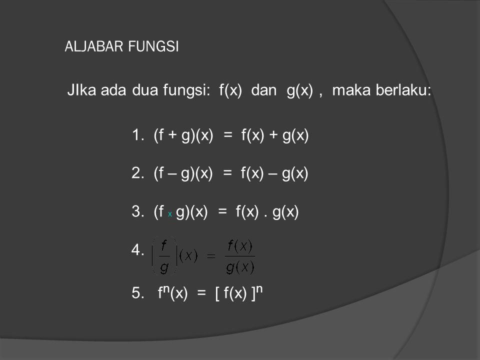 ALJABAR FUNGSI JIka ada dua fungsi: f(x) dan g(x), maka berlaku: 1. (f + g)(x) = f(x) + g(x) 2. (f – g)(x) = f(x) – g(x) 3. (f x g)(x) = f(x). g(x) 4.