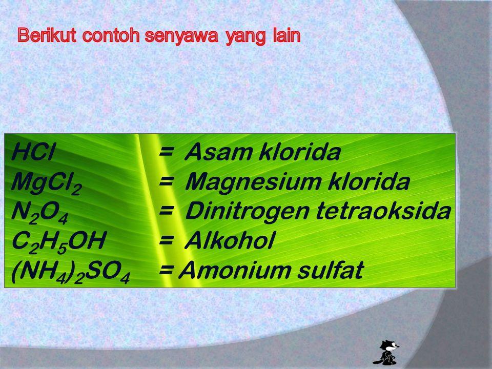 Senyawa memiliki sifat yang berbeda dari unsur penyusunnya. Contoh : Na + Cl  NaCl UnsurSenyawaUnsur Na = zat explosif (mudah terbakar ) Cl = gas ber