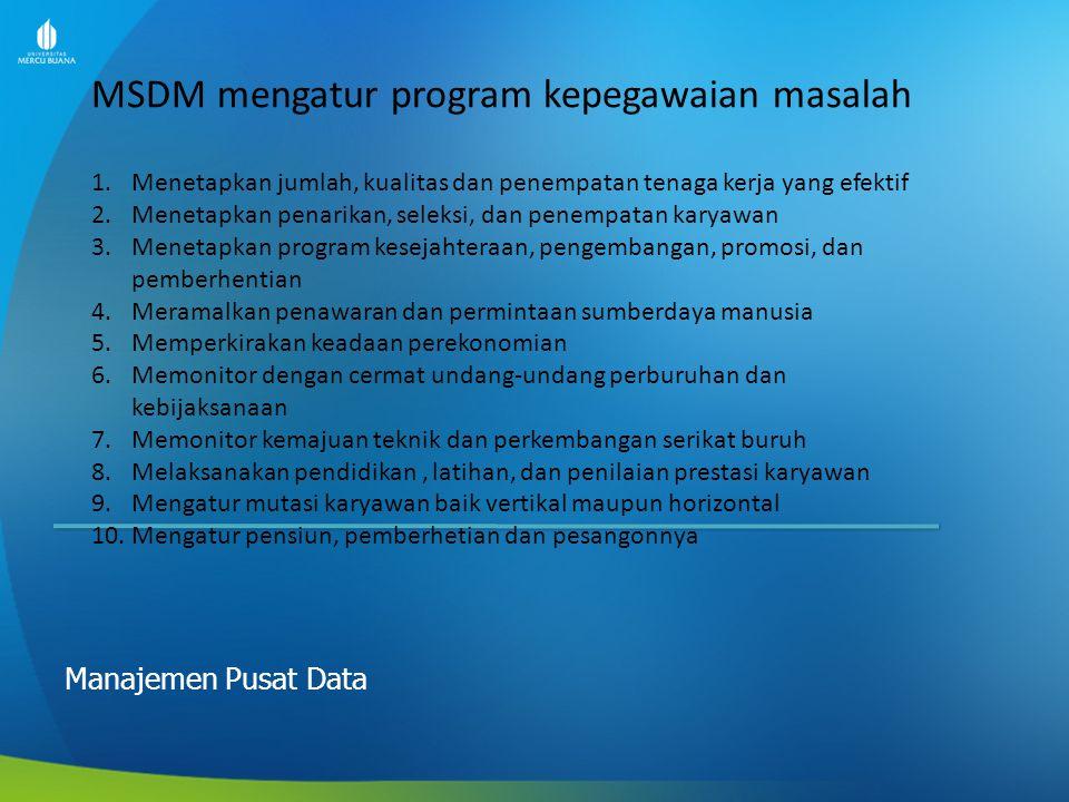 MSDM mengatur program kepegawaian masalah Manajemen Pusat Data 1.Menetapkan jumlah, kualitas dan penempatan tenaga kerja yang efektif 2.Menetapkan pen
