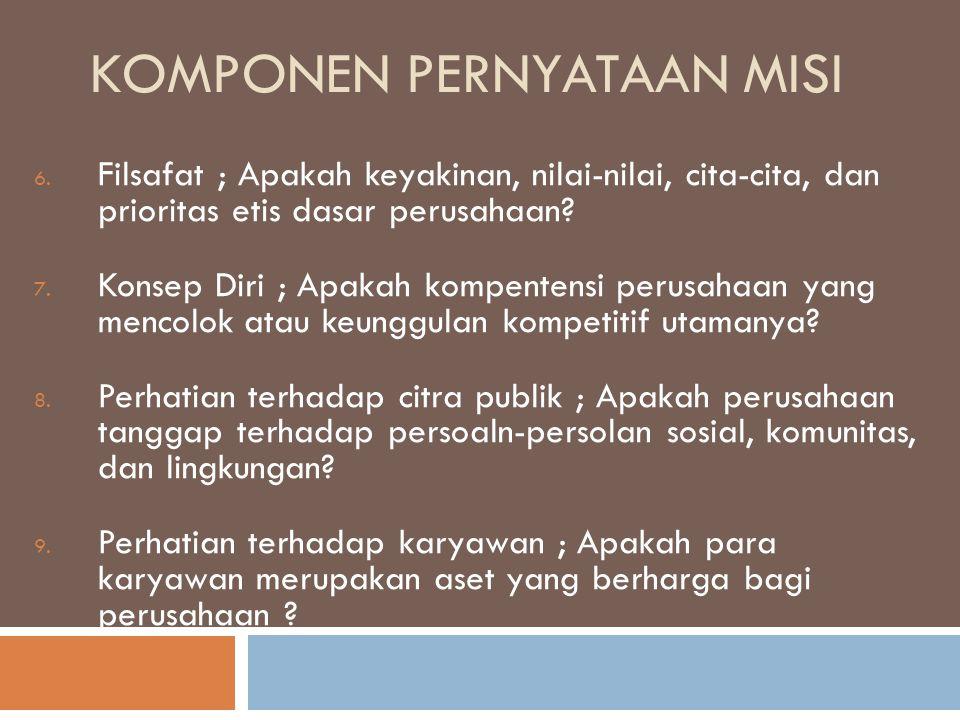 KOMPONEN PERNYATAAN MISI 6. Filsafat ; Apakah keyakinan, nilai-nilai, cita-cita, dan prioritas etis dasar perusahaan? 7. Konsep Diri ; Apakah kompente