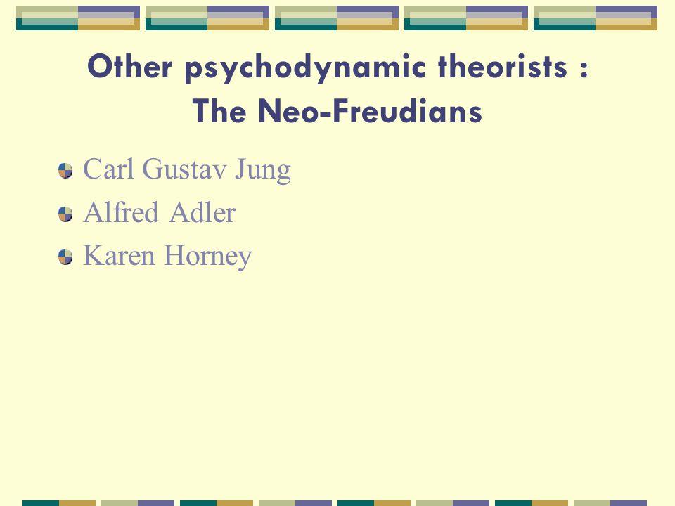 Other psychodynamic theorists : The Neo-Freudians Carl Gustav Jung Alfred Adler Karen Horney
