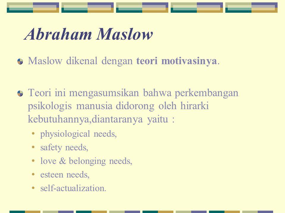 Abraham Maslow Maslow dikenal dengan teori motivasinya. Teori ini mengasumsikan bahwa perkembangan psikologis manusia didorong oleh hirarki kebutuhann