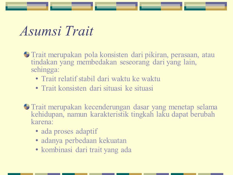 Trait merupakan pola konsisten dari pikiran, perasaan, atau tindakan yang membedakan seseorang dari yang lain, sehingga: Trait relatif stabil dari wak