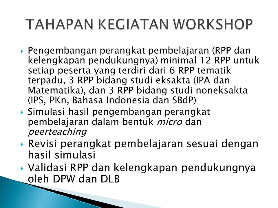  Pengembangan perangkat pembelajaran (RPP dan kelengkapan pendukungnya) minimal 12 RPP untuk setiap peserta yang terdiri dari 6 RPP tematik terpadu,