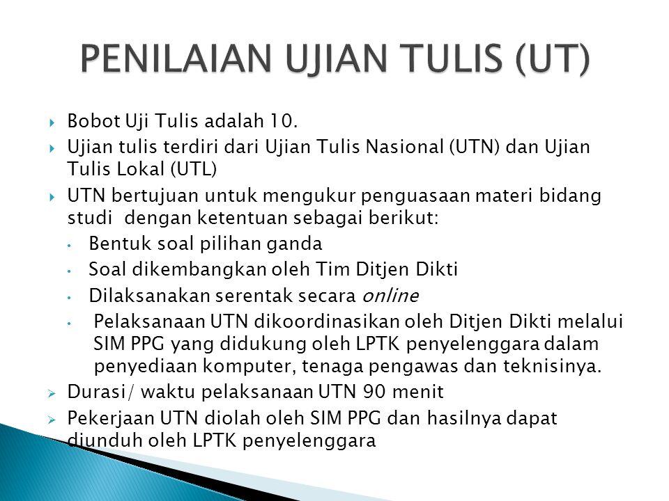  Bobot Uji Tulis adalah 10.  Ujian tulis terdiri dari Ujian Tulis Nasional (UTN) dan Ujian Tulis Lokal (UTL)  UTN bertujuan untuk mengukur penguasa