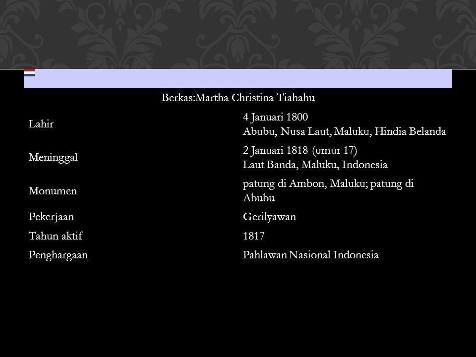 Berkas:Martha Christina Tiahahu Lahir 4 Januari 1800 Abubu, Nusa Laut, Maluku, Hindia Belanda Meninggal 2 Januari 1818 (umur 17) Laut Banda, Maluku, I