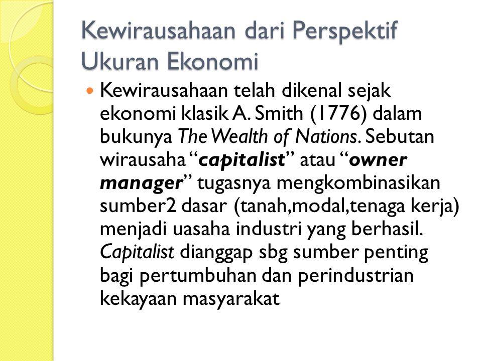 Kewirausahaan dari Perspektif Ukuran Ekonomi Kewirausahaan telah dikenal sejak ekonomi klasik A.