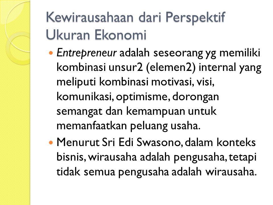 Kewirausahaan dari Perspektif Ukuran Ekonomi Entrepreneur adalah seseorang yg memiliki kombinasi unsur2 (elemen2) internal yang meliputi kombinasi motivasi, visi, komunikasi, optimisme, dorongan semangat dan kemampuan untuk memanfaatkan peluang usaha.