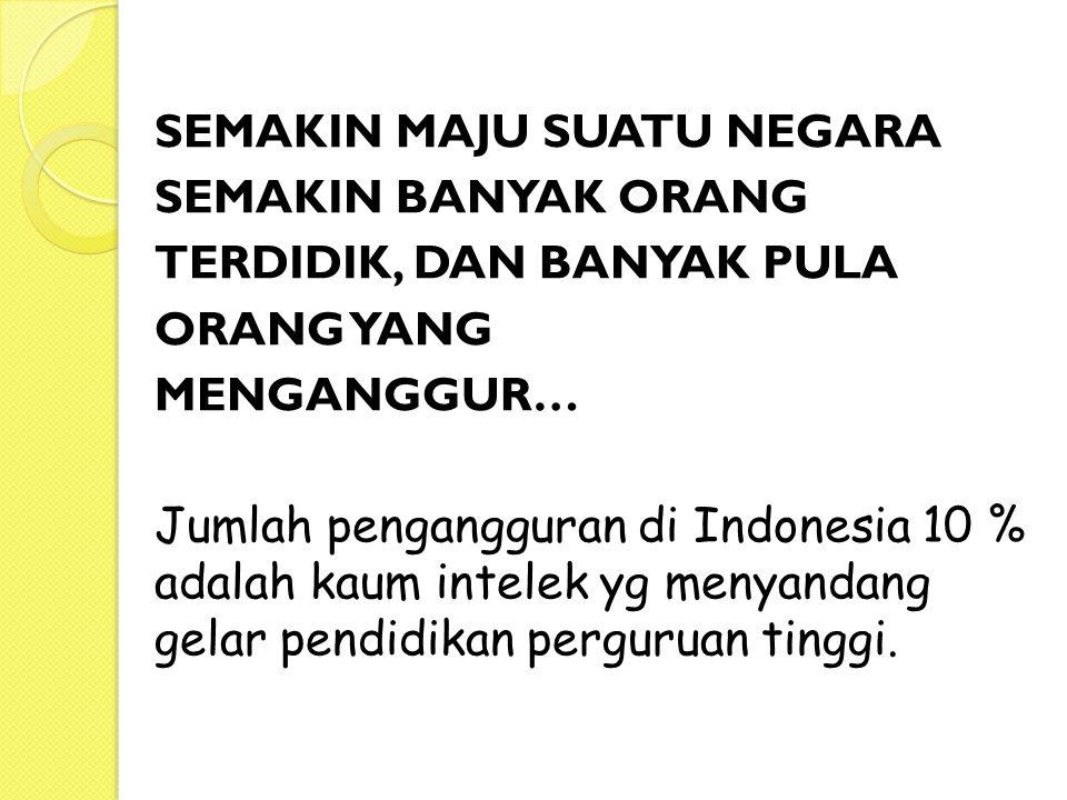 SEMAKIN MAJU SUATU NEGARA SEMAKIN BANYAK ORANG TERDIDIK, DAN BANYAK PULA ORANG YANG MENGANGGUR… Jumlah pengangguran di Indonesia 10 % adalah kaum intelek yg menyandang gelar pendidikan perguruan tinggi.