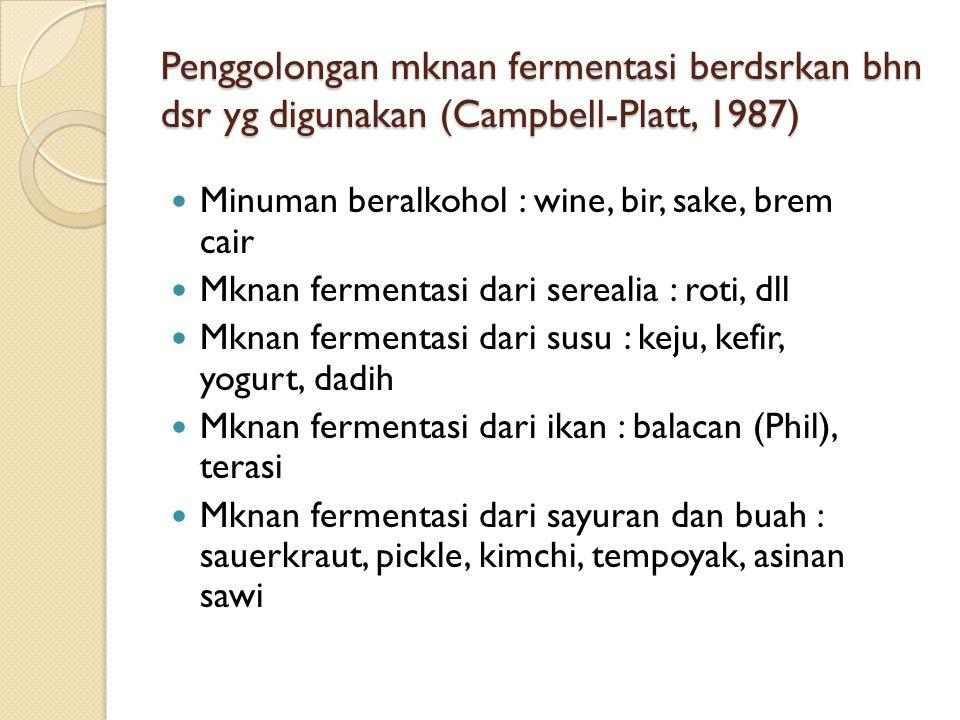 Penggolongan mknan fermentasi berdsrkan bhn dsr yg digunakan (Campbell-Platt, 1987) Minuman beralkohol : wine, bir, sake, brem cair Mknan fermentasi dari serealia : roti, dll Mknan fermentasi dari susu : keju, kefir, yogurt, dadih Mknan fermentasi dari ikan : balacan (Phil), terasi Mknan fermentasi dari sayuran dan buah : sauerkraut, pickle, kimchi, tempoyak, asinan sawi