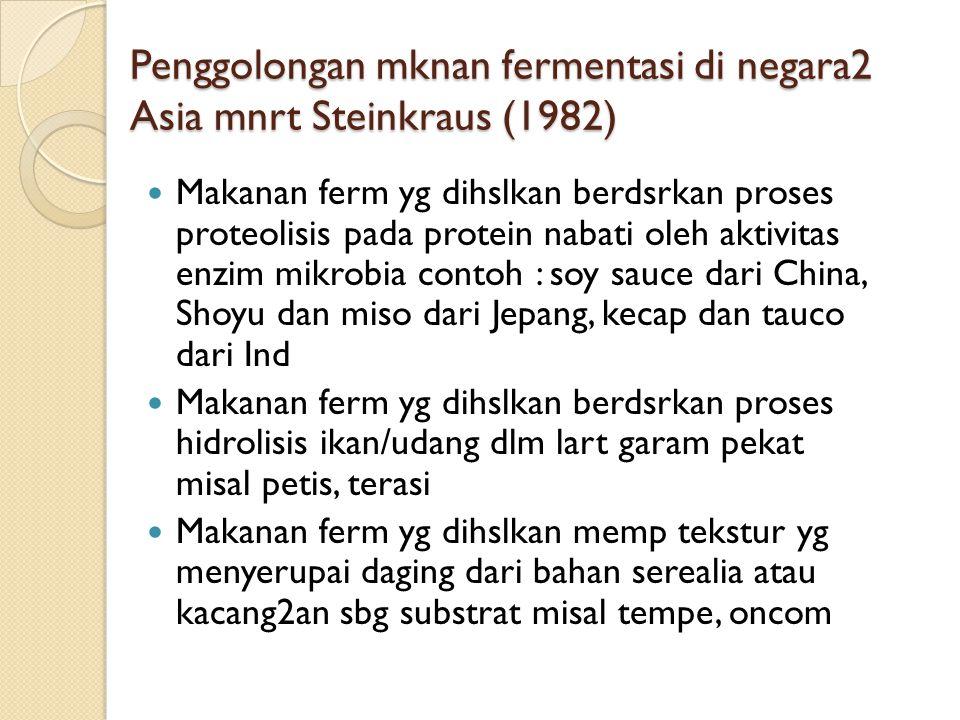 Penggolongan mknan fermentasi di negara2 Asia mnrt Steinkraus (1982) Makanan ferm yg dihslkan berdsrkan proses proteolisis pada protein nabati oleh aktivitas enzim mikrobia contoh : soy sauce dari China, Shoyu dan miso dari Jepang, kecap dan tauco dari Ind Makanan ferm yg dihslkan berdsrkan proses hidrolisis ikan/udang dlm lart garam pekat misal petis, terasi Makanan ferm yg dihslkan memp tekstur yg menyerupai daging dari bahan serealia atau kacang2an sbg substrat misal tempe, oncom