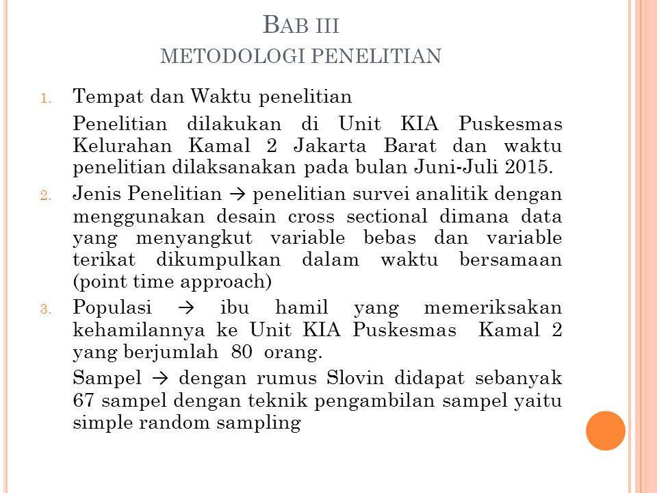 B AB III METODOLOGI PENELITIAN 1. Tempat dan Waktu penelitian Penelitian dilakukan di Unit KIA Puskesmas Kelurahan Kamal 2 Jakarta Barat dan waktu pen