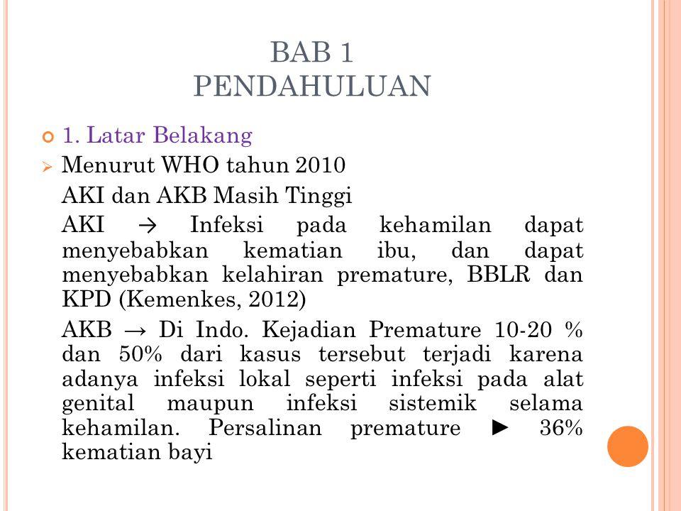 BAB 1 PENDAHULUAN 1. Latar Belakang  Menurut WHO tahun 2010 AKI dan AKB Masih Tinggi AKI → Infeksi pada kehamilan dapat menyebabkan kematian ibu, dan