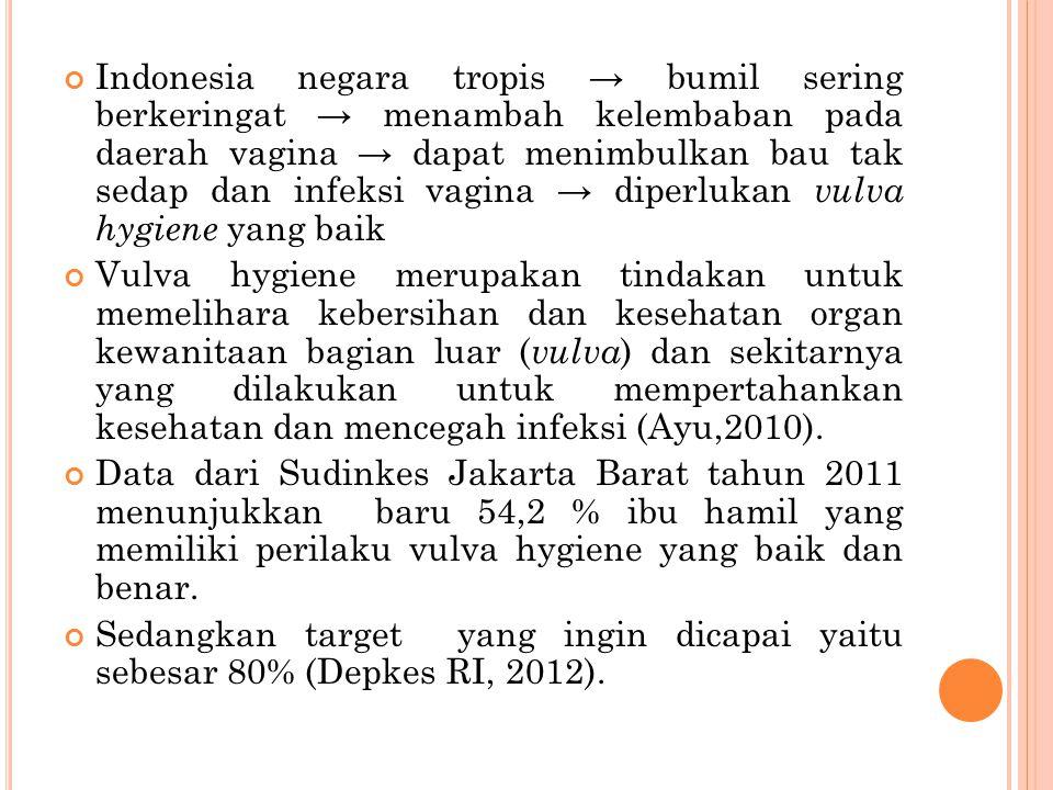 Indonesia negara tropis → bumil sering berkeringat → menambah kelembaban pada daerah vagina → dapat menimbulkan bau tak sedap dan infeksi vagina → dip