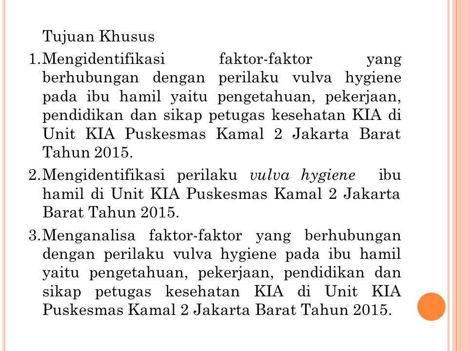 Tujuan Khusus 1.Mengidentifikasi faktor-faktor yang berhubungan dengan perilaku vulva hygiene pada ibu hamil yaitu pengetahuan, pekerjaan, pendidikan dan sikap petugas kesehatan KIA di Unit KIA Puskesmas Kamal 2 Jakarta Barat Tahun 2015.