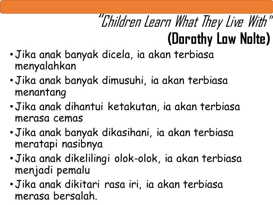 """ Children Learn What They Live With"" (Dorothy Low Nolte) Jika anak banyak dicela, ia akan terbiasa menyalahkan Jika anak banyak dimusuhi, ia akan ter"