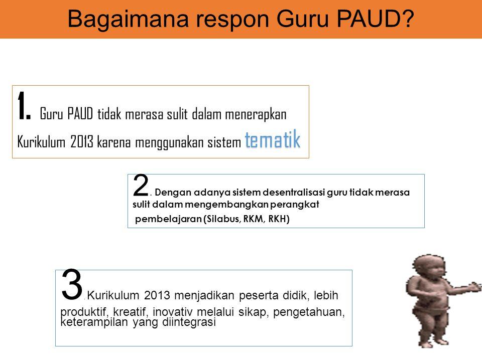 Bagaimana respon Guru PAUD? 3. Kurikulum 2013 menjadikan peserta didik, lebih produktif, kreatif, inovativ melalui sikap, pengetahuan, keterampilan ya