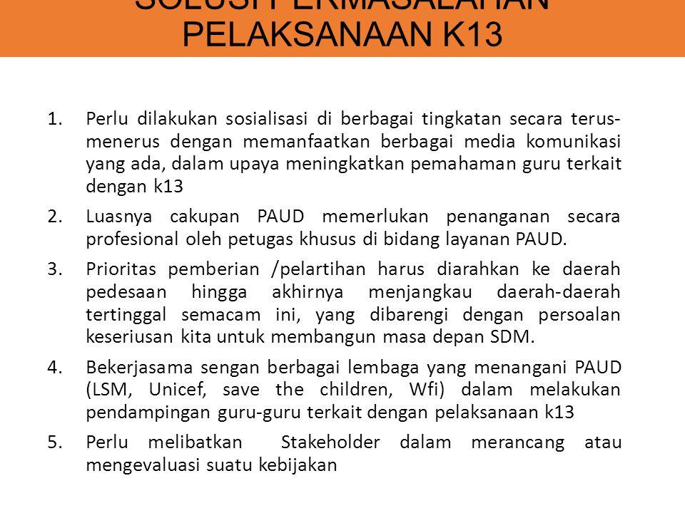 SOLUSI PERMASALAHAN PELAKSANAAN K13 1.Perlu dilakukan sosialisasi di berbagai tingkatan secara terus- menerus dengan memanfaatkan berbagai media komunikasi yang ada, dalam upaya meningkatkan pemahaman guru terkait dengan k13 2.Luasnya cakupan PAUD memerlukan penanganan secara profesional oleh petugas khusus di bidang layanan PAUD.