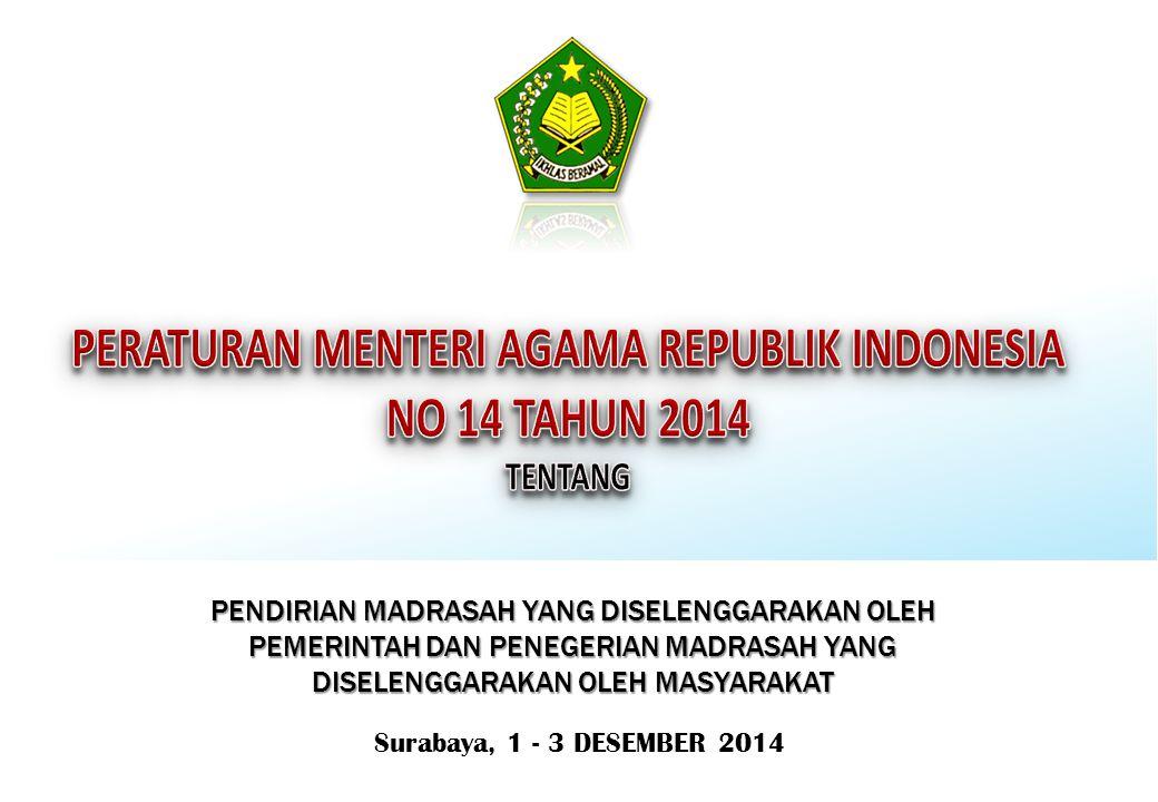 Surabaya, 1 - 3 DESEMBER 2014 PENDIRIAN MADRASAH YANG DISELENGGARAKAN OLEH PEMERINTAH DAN PENEGERIAN MADRASAH YANG DISELENGGARAKAN OLEH MASYARAKAT