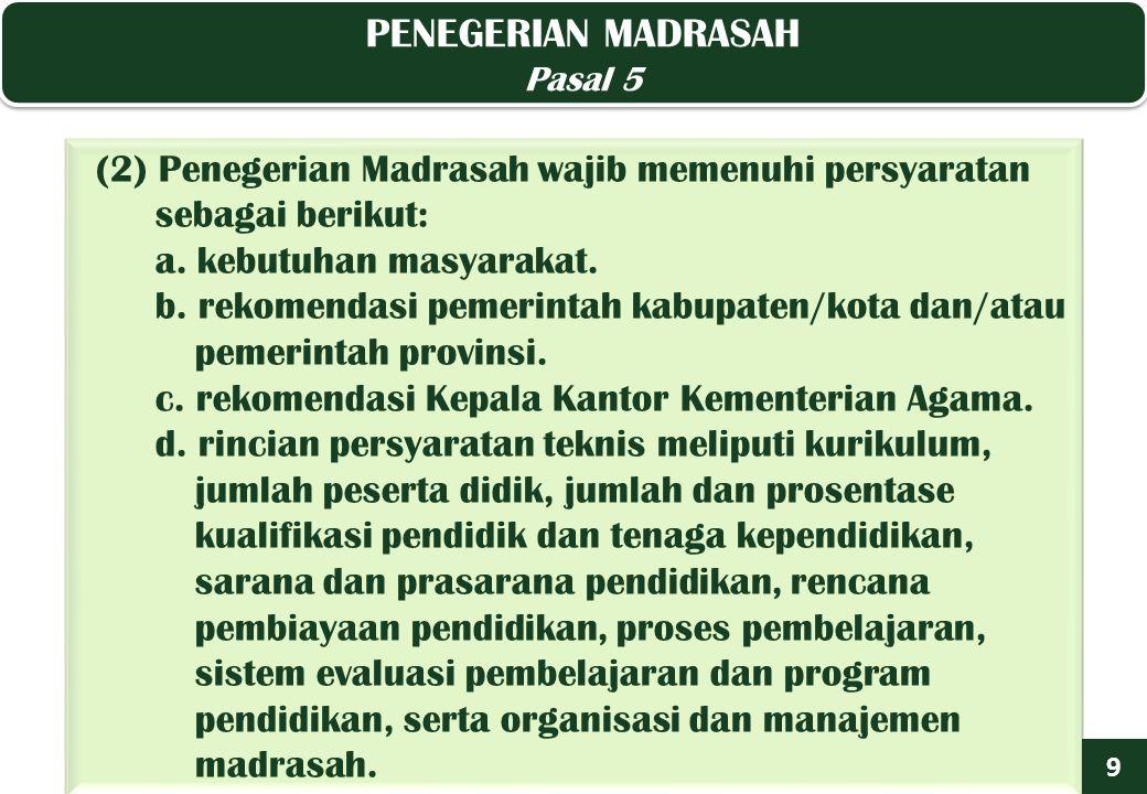 PENEGERIAN MADRASAH Pasal 5 PENEGERIAN MADRASAH Pasal 5 9 (2) Penegerian Madrasah wajib memenuhi persyaratan sebagai berikut: a.