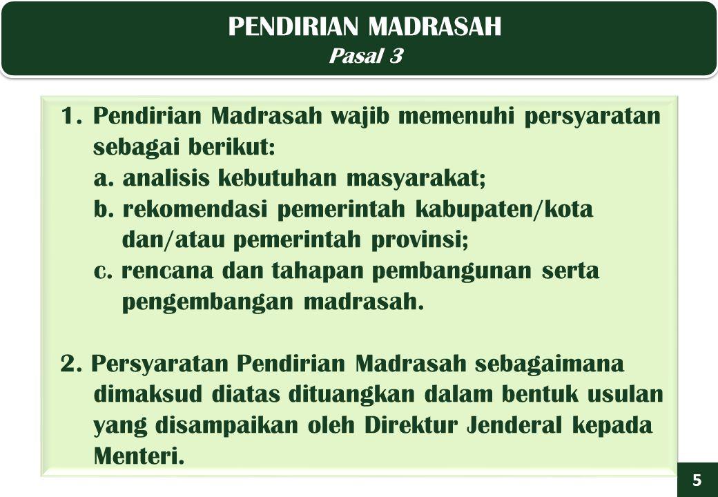 PENDIRIAN MADRASAH Pasal 3 PENDIRIAN MADRASAH Pasal 3 5 1.Pendirian Madrasah wajib memenuhi persyaratan sebagai berikut: a.