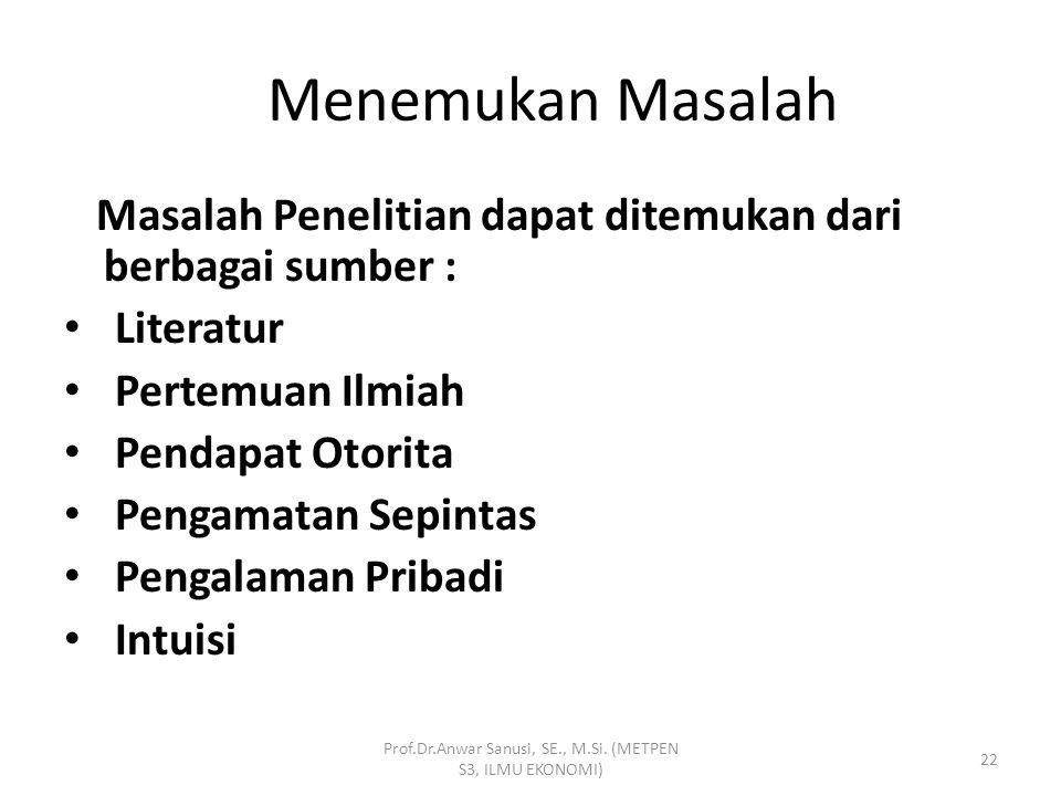 Menemukan Masalah Memilih Masalah Merumuskan Masalah Prof.Dr.Anwar Sanusi, SE., M.Si. (METPEN S3, ILMU EKONOMI) 21