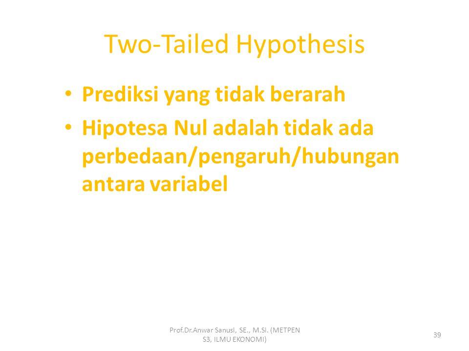 One-Tailed Hypothesis Example Prof.Dr.Anwar Sanusi, SE., M.Si. (METPEN S3, ILMU EKONOMI) 38