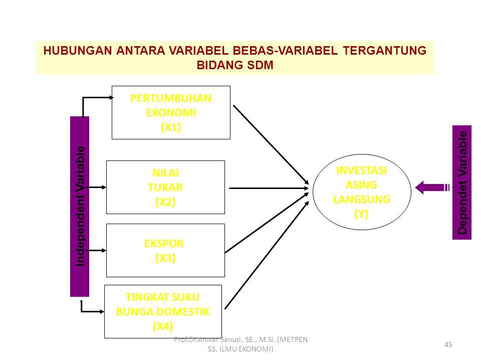 HUBUNGAN ANTARA VARIABEL BEBAS-VARIABEL TERGANTUNG BIDANG SDM Prof.Dr.Anwar Sanusi, SE., M.Si. (METPEN S3, ILMU EKONOMI) 44