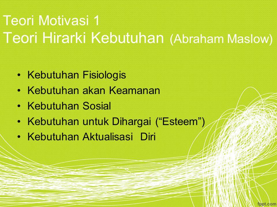 Teori Motivasi 1 Teori Hirarki Kebutuhan (Abraham Maslow) Kebutuhan Fisiologis Kebutuhan akan Keamanan Kebutuhan Sosial Kebutuhan untuk Dihargai ( Esteem ) Kebutuhan Aktualisasi Diri