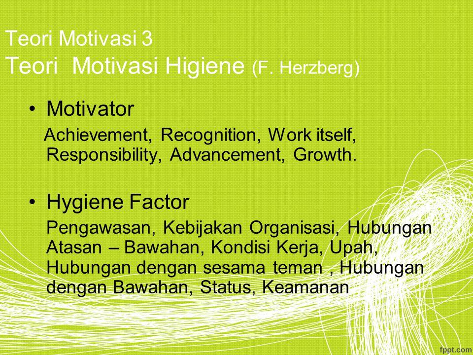 Teori Motivasi 3 Teori Motivasi Higiene (F.
