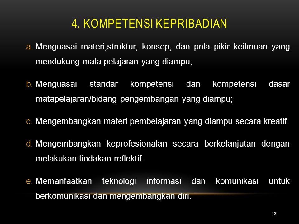 4. KOMPETENSI KEPRIBADIAN 13 a.Menguasai materi,struktur, konsep, dan pola pikir keilmuan yang mendukung mata pelajaran yang diampu; b.Menguasai stand