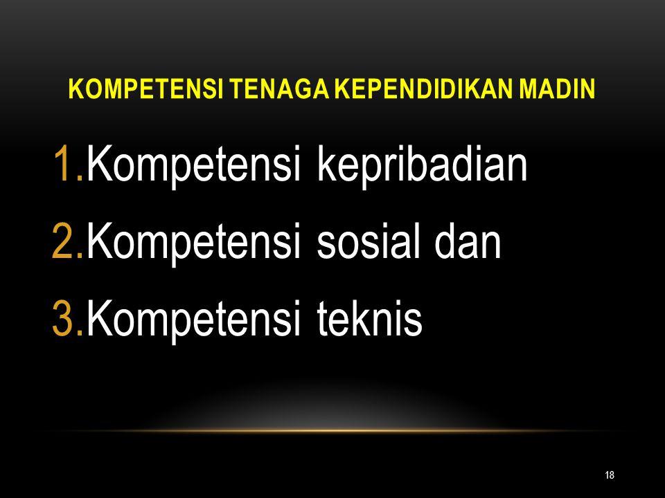 KOMPETENSI TENAGA KEPENDIDIKAN MADIN 18 1.Kompetensi kepribadian 2.Kompetensi sosial dan 3.Kompetensi teknis